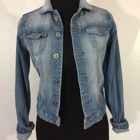 great fit detailed pictures latest selection of 2019 H & M blue denim jean jacket women small